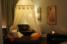 canopy Meditation Rooms, Yoga Meditation, Canopy, Toddler Bed, Curtains, Room Ideas, Budget, Spaces, Furniture