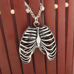 Anatomy Anatomical Human Rib Cage Body Chest Necklace Skeleton Pendant 2016 New…