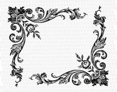 Victorian Style Floral Rose Corner Border by luminariumgraphics, $2.20