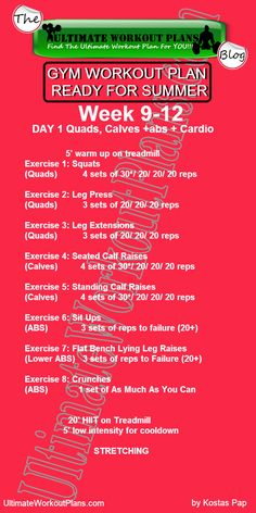 3 Month Women Workout Plan Week 9-12 Day 1: Quads, calves, abs and cardio. FREE Printable workout template to have it always with you!!! #fitness #printableworkouts #gymworkouts #ultimateworkoutplans #kostaspap