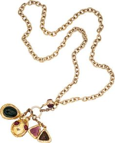Chanel Gold Chain Necklace with Gripoix Charms