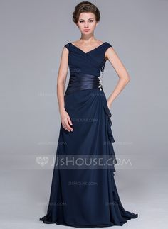 Mother of the Bride Dresses - $111.49 - A-Line/Princess Off-the-Shoulder Sweep Train Chiffon Charmeuse Mother of the Bride Dress With Beading Appliques Cascading Ruffles (017026072) http://jjshouse.com/A-Line-Princess-Off-The-Shoulder-Sweep-Train-Chiffon-Charmeuse-Mother-Of-The-Bride-Dress-With-Beading-Appliques-Cascading-Ruffles-017026072-g26072?pos=best_selling_items_7