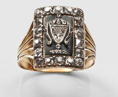 Born in 1717, Lady Mary Finch was the daughter of Heneage Finch, 2nd Earl of Aylesford and Mary Fisher. She married William Howard, Viscount Andover on the 6th of November 1736 and became Mary Howard, Viscountess Andover. This ring was created to carry her memory.