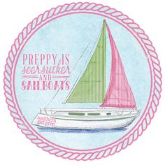 Seersucker Sailboat Sticker from Southern Girl Prep