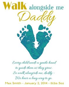 Gift for new dad New baby footprint heart   new Daddy by Words2Art