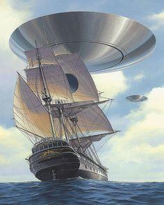 Arte Alien, Illusion Paintings, Spaceship Art, Aliens And Ufos, Futuristic Art, Flying Saucer, Art Station, Science Fiction Art, Fantasy Illustration