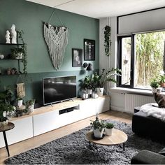 Green Bedroom Walls, Living Room Green, Green Rooms, Living Room Colors, Living Room Paint, Home Living Room, Living Room Designs, Living Room Decor, Home Room Design