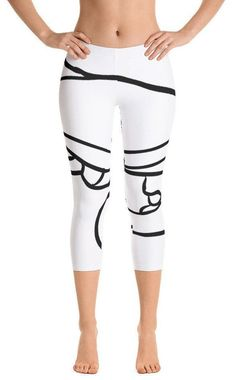 4b6aac6bf26e All-over print Capri Leggings, women's 3/4 length, in white with black  abstract design, quality apparel