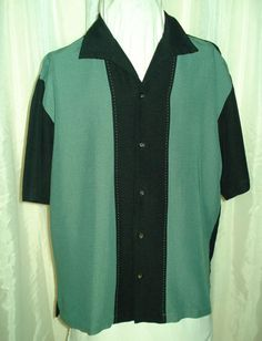 Retro 50s Style Two Tone Black Teal Miliano Bay Rockabilly Lounge Bowl Shirt M