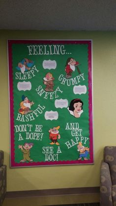 reslife bulletin board with a snow white and the seven dwarfs theme! healthy living and campus resources