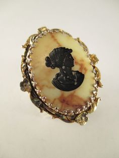 Vintage Ring WHITING & DAVIS Intaglio Cameo Resin Marble Filigree Mounting Sz 6