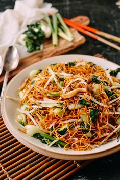 Vegetable Chow Mein Noodles,with bok choy Vegetarian Recipes, Cooking Recipes, Cantonese Chow Mein Recipe, Vegetable Lo Mein, Chow Mein Recipe Vegetable, Crispy Noodles, Vegetable Crisps, Chicken Chow Mein, Kitchen