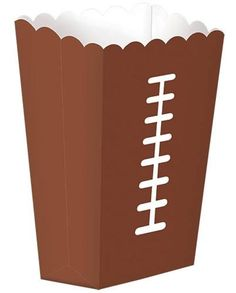 "Are you ready for kick off? Be ready with this handy football snack box. Fill with fries, popcorn, or even licorice. This 7 1/2"" H x 3 1/2"" W x 2 1/4"" is easy t"