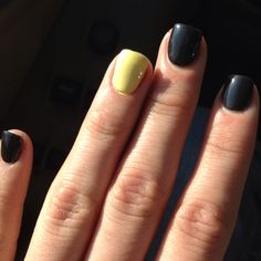 Yellow+grey....love the one different nail trend....I do it all the time now.