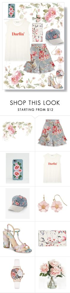 """""""floral denim"""" by gatelyhawkins ❤ liked on Polyvore featuring Zimmermann, Missguided, Rebecca Minkoff, Express, LC Lauren Conrad, Betsey Johnson, Ivanka Trump, Olivia Burton and Home Decorators Collection"""
