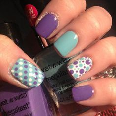 Pretty Polka Dots Nail Designs - For Creative Juice - Mint and Purple Polka Dot Nails. Get Nails, Fancy Nails, Pretty Nails, Nice Nails, Dot Nail Art, Polka Dot Nails, Polka Dots, Blue Dots, Shellac Nails