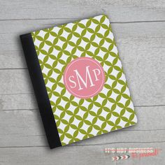 iPad Case  Decorative Ornate Personalized Monogram by itsPersonal2, $35.50 Dk grey/ Yellow, Teal/pink, pink/teal, Or purple/green  Round script or round roman