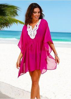2019 Beach Wear, Elegant Dresses for the Beach Fuchsia Collar Lace Embroidered Transparent Beach Dress Pareo Beach Attire, Beach Wear, Caftan Dress, Boho Dress, Beach Dresses, Summer Dresses, Maite Kelly, Beachwear Fashion, Elegant Dresses