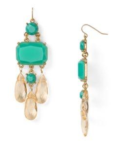 sea green crystal drop earrings