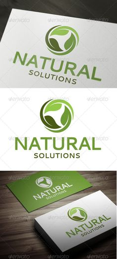 Fresh and elegant Logo Template for Natural Cosmetics, Bio Solutions or Green Labels and companies.