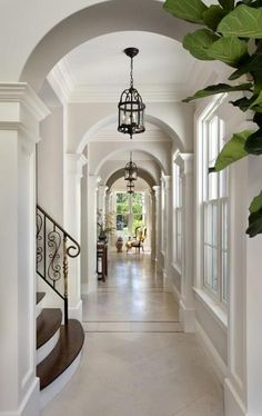 I like how bright the hallways are because of the windows. I also like the details of the crown molding on the walls. The texture is interesting to look at.