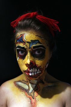 Zombie Poip art Artista: Marcela leal  Visitanos en: www.eltallerdelpelo.com Halloween Face Makeup, Artistic Make Up, Atelier, Hair, Artists