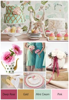mint green, pink and teal collage..
