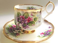 Rosina Tea Cup and Saucer Gold Violets Cups by AprilsLuxuries