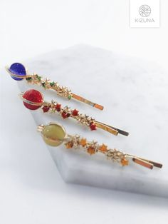 Hair Pins, Planets, Hair Accessories, Stars, Silver, Gold, Gifts, Bobby Pins, Presents