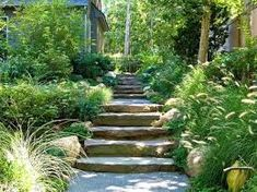 Cottage-Style Landscapes and Gardens DIY Garden Projects Vegetable Gardening, Raised Beds, Growing & Planting DIY Outdoor Landscaping, Outdoor Gardens, Landscaping Ideas, Outdoor Ponds, Staircase Pictures, Staircase Ideas, Outdoor Stone, Outdoor Stairs, Garden Cottage