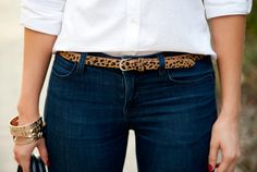 Jazz up jeans & a white top with a leopard belt