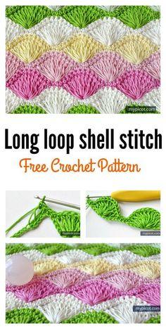 Beautiful shell stitch crochet free patterns and projects part 2 Crochet Box Stitch, Crochet Stitches Free, Afghan Crochet Patterns, Crochet Motif, Crochet Designs, Crochet Baby, Free Crochet, Stitch Patterns, Knitting Patterns