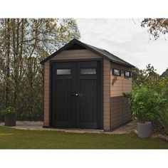 Keter Fusion 7 5 X 9 Resin And Wood Composite Storage Shed All