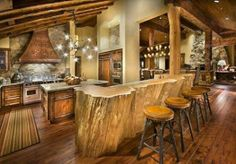 Kitchen Design: Rustic Cabin Kitchen Design With Log Wood Bar Table And Unique Chandelier On Vaulted Ceiling Over Marble Countertop Kitchen Island Also Natural Stone Backsplash Plus Copper Range Hood Style At Home, Interior Architecture, Interior Design, Interior Ideas, Cabin Kitchens, Dream Kitchens, Log Cabin Homes, Log Cabins, My Dream Home