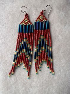 Seed Bead Beaded Earrings in Rust Blue and von ArtskilsEarrings