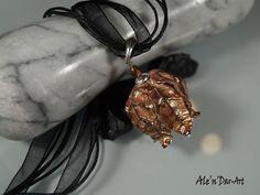 Leaf necklace brown orange leaf pendant leaf jewelry by AlenDarArt