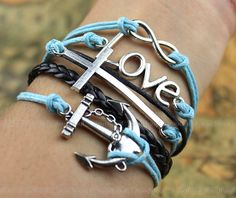 Silver anchor, cross, LOVE and infinity bracelet--Antique Silver Bracelet--Wax Cords and Imitation Leather Bracelet--Best Chosen Gift