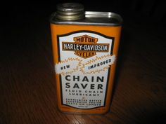 Vintage HARLEY DAVIDSON CHAIN SAVER OIL CAN Motorcycle Tin Gas Bike C ...