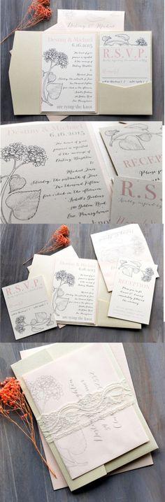 Blush Blooms - Lace Wedding Invitation, Ivory Pocket fold, Peach, Hydrangea
