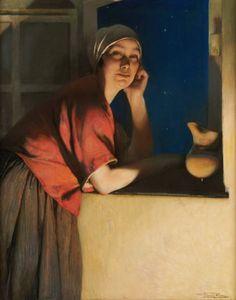 Femme à sa fenêtre -- by Firmin Baes (Belgian, 1874–1945)