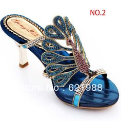 6 style big size 40 41 42 43 summer sandals peacock slippers female high-heeled  blue genuine leather rhinestone slippers $47.99 - 56.99 Peacock Shoes, Peacock Decor, Peacock Colors, Peacock Theme, Wedge Shoes, Shoes Heels, Shoe Wedges, Jeweled Shoes, Rhinestone Sandals