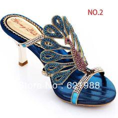 6 style big size 40 41 42 43 summer sandals peacock slippers female high-heeled blue genuine leather rhinestone slippers $47.99 - 56.99