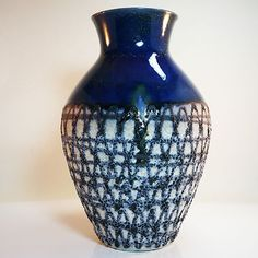 West german pottery vase • Carstens • partly with lava glaze