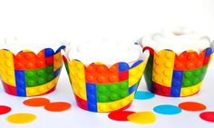Building Blocks Cupcake Wrappers, Cupcake Wrappers, Building Blocks Party Decora - Baking Cups & Cupcake Liners Cupcake Liners, Cupcake Wrappers, 12 Cupcakes, Baking Cups, Block Party, Party Supplies, Card Stock, Building, Construction