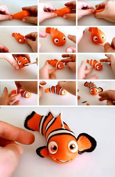 Exciting lessons with children Plastic clay crafts Polymer Clay Kunst, Polymer Clay Animals, Cute Polymer Clay, Cute Clay, Polymer Clay Projects, Polymer Clay Creations, Diy Clay, Cake Topper Tutorial, Fondant Tutorial