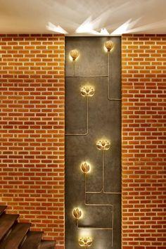 Wall Paneling Restaurant Lighting 39 Ideas For 2019 Pooja Room Door Design, Foyer Design, Lobby Design, Staircase Design, House Design, Home Interior Design, Interior Decorating, Wall Panel Design, Indian Interiors