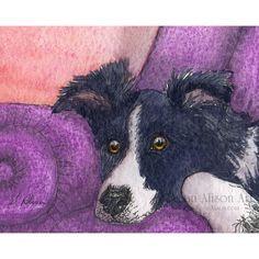 Border Collie perro 5 x 7 8 x 10 11x14 arte por susanalisonart