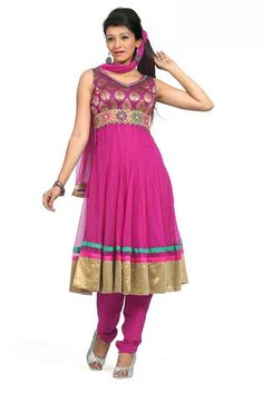 $79.50 Pink Sleeveless Faux Georgette Anarkali Salwar Kameez 18075