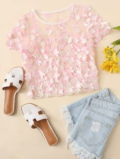 SheIn offers Petal Applique Mesh Top & more to fit your fashionable needs. Crop Top Outfits, Cute Casual Outfits, Pretty Outfits, Stylish Outfits, Beautiful Outfits, Girls Fashion Clothes, Teen Fashion Outfits, Girl Outfits, Outfits For Teens