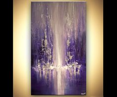 Original abstract art paintings by Osnat - modern city painting blue purple palette knife